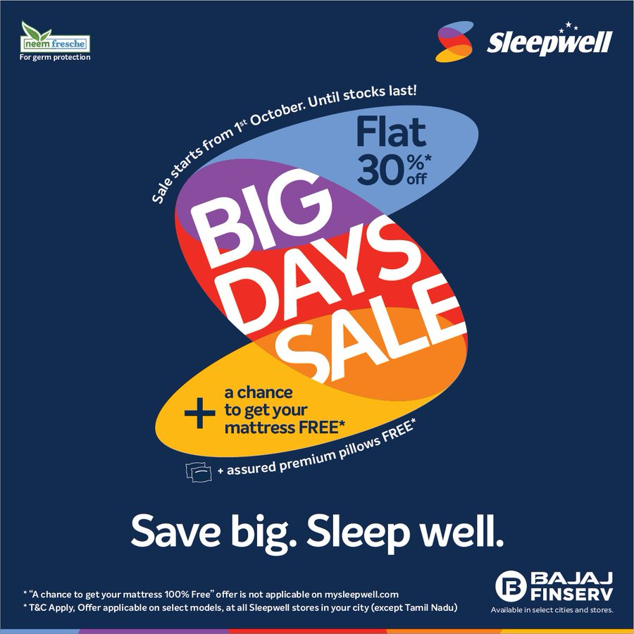 Sleepwell is back with a boom of 30% off + a chance to get a free mattress 1